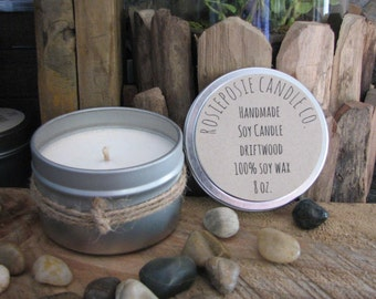 Driftwood 8 oz. Soy Wax Candle Travel Tin Handmade