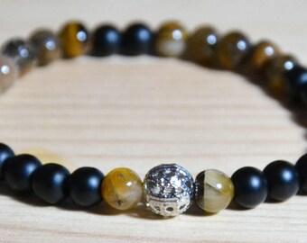 Unisex men's bracelet with natural stones