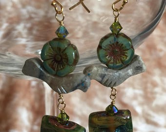 Teal Wire Wrapped Flowers, Stone Bird, and Lampwork Glass Beaded Earrings