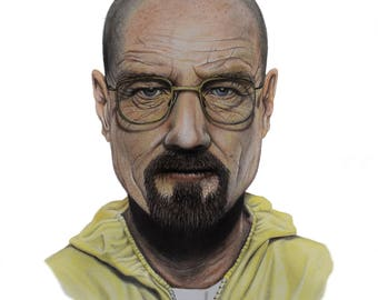 "Walter White Printable Art, Breaking Bad Portrait, Heisenberg, Bryan Cranston, Gift, Artwork, Colored Pencil, 8""x10"""