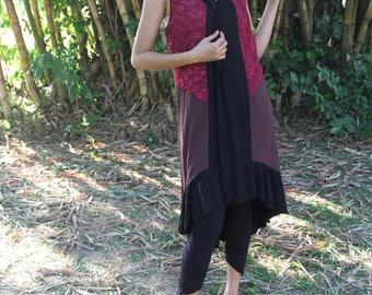 Patchwork Fairy Pixie Dress, Gypsy Boho Cloak, Goa Trance Clothing, Tribal Clothing, Faerie Fantasy Costume Dress. Pagan Dress