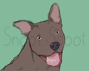 Pit bull Digital Art Print