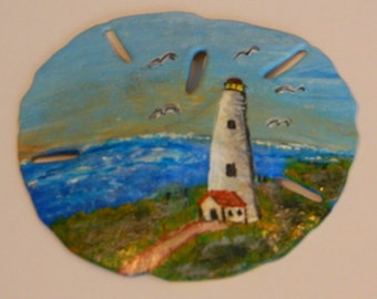 Hand Painted Lighthouse Sand Dollar Magnet