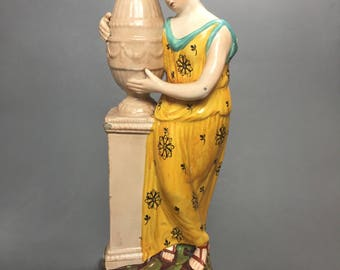 Late 18th Century Staffordshire Figure, Female at Monument