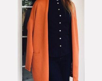 Terracotta merino wool cardigan with pockets