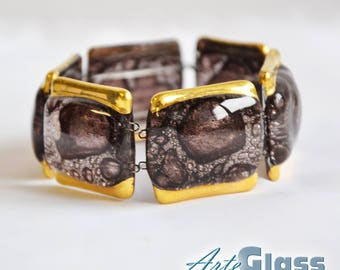 Bracelet handmade bubble brown with gold