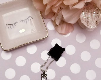 Birthstone Owl Black Ruffles; pen clip, pen loop