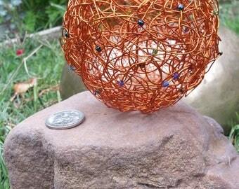 Woven copper bowl