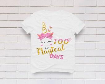 100 days svg, 100th day of school svg, Unicorn svg, 100 magical days svg, School svg, Kindergarten svg, SVG, DXF, eps, Png, Pdf svg for girl