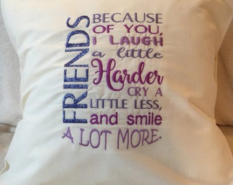 Friends cushions laugh cry smile love