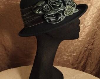 Felt Profile Hat with Handmade Silk Flower Bouquet