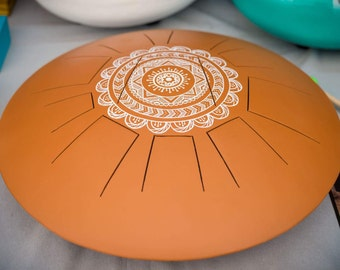 Zen Drum, Handpan, steel tongue drum, big Zen drum oval orange tile with mandala symmetric white