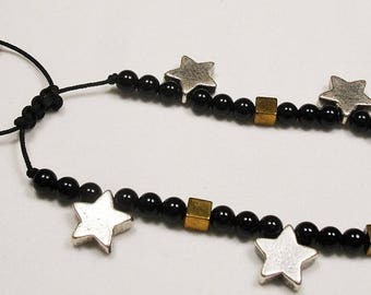 Black onyx beads- gold square hematite beads- silver plated metal stars (RP9-kam271183711)