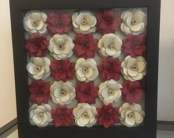 "Handmade paper flowers in 8x8"" shadowbox frame"