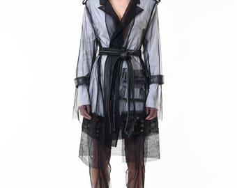 Deconstructed black tulle coat