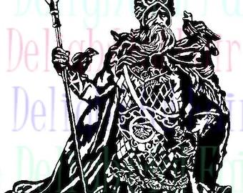 Odin and Gungnir svg, Odin svg, cut file, viking avg, cameo silhouette, circuit, digital download, decal, htv, vinyl craft