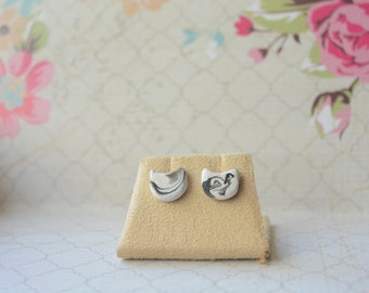 Polymer Clay Handmade Marble Cat Kitten Black and White Stainless Steel Stud Earrings Jewelry Cute Pretty Girls Women Studs