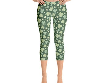 Women's St. Patrick's Day Capri Leggings Beautiful Pattern leggings, full printed, Printful, USA,Made for you, Modern,Trendy Design store,