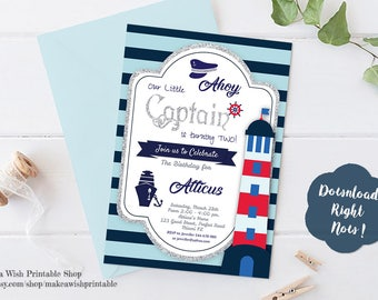 Nautical Birthday Invitation, Nautical Boy Birthday Invitation, Sailor Birthday, Birthday Invitations for Boys, Editable Birthday Invitation