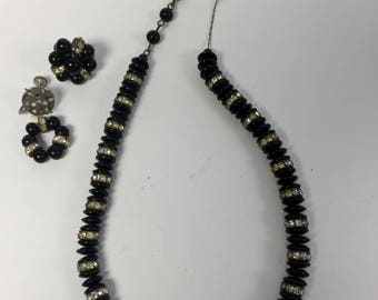 Jet Black and Crystal Necklace and Earrings/Vintage/Brenda Moore