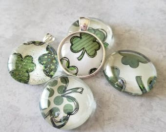 Sketched Shamrock Clover Decorated, Magnet Set, Pendant, Cabochon