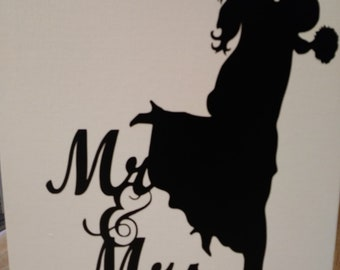 Mr. & Mrs. Canvas Painting With Vinyl Lettering - Wall Art - Painting - Picture - Family - Dorm - Cabin - Camper - RV