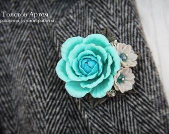 flower brooch, rose brooch, blue rose, blue brooch, polymer clay brooch, flower brooch, polymer clay flowers