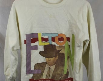 Vintage Elton John 1984 Breaking Hearts Tour White Sweatshirt Sz M