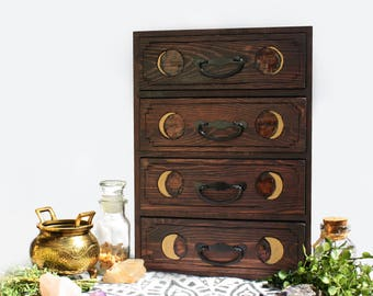 Moon Phase Four Drawer Apothecary Pyrography Chest