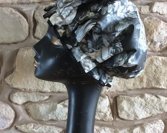 Monochrome Flower Luxury Glamorous Shower Cap