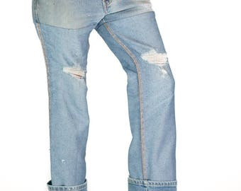 Redesigned Reversed Distressed Levi's 517 Denim Jeans