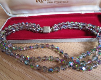 Vintage three strand aurora faceted glass necklace with fancy floral clasp