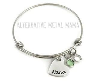 Nana Bangle Bracelet with Birthstones
