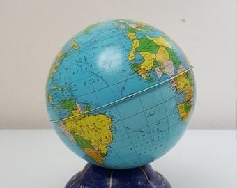 Ohio Art 1970s Vintage Metal Globe