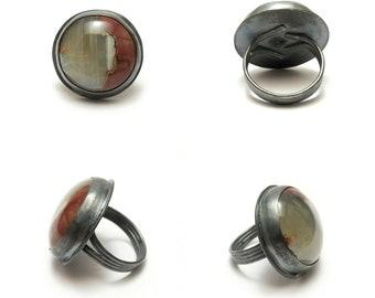 Crimson Crescent Ring