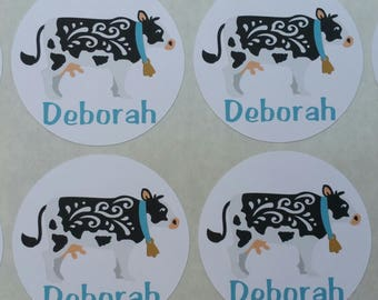 Personalized Whimsical Cow Stickers for Back to School, Name labels, cards, etc set of 20