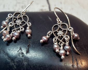 Freshwater Pearl Chandelier Earrings, Ornate Pearl Earrings, Elegant Pearl Earrings, Pearl Jewelry, Blush & Silver, Anniversary Earrings