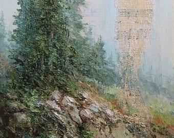 Mountain Splendor, Original Painting Mixed Media, Oil Painting, Cottage Chic Decor