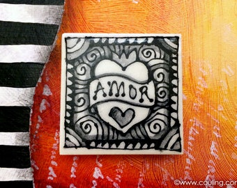 Amor Love Heart Magnet Art - Clay / Pottery 2X2 Hand Painted Ceramic Tile by artist, Cindy Couling