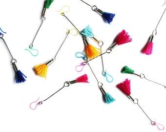Tassel Earrings, Summer Jewelry, Beach Jewelry, Boho Earrings, Colorful Jewelry, Summer Fashion, Fuchsia Tassel, Green Tassel, Pink Tassel