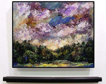 Purple Clouds, Lush Forest, Original Landscape Painting, Textured Painting, Colorful, Lake, Trees, Sky, Winjimir, Home Decor, Wall Art, Gift