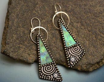 Sterling silver dangle triangle green blue iridescent polymer earrings sterling silver beads black white swirls sterling ear wires