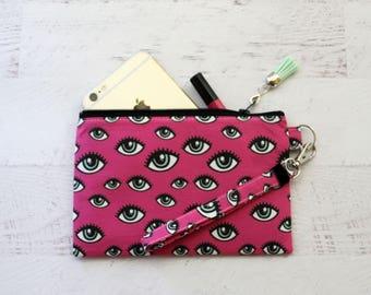 Pink wrist pouch -  eyeball bag - creepy cute pouch - small wrist wallet - iphone case - wristlet wallet - makeup bag - gift for teen - bag