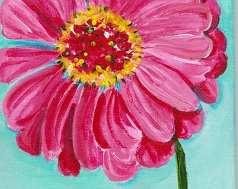 Pink zinnia acrylic painting, 4 x 6 canvas panel,  original flower artwork