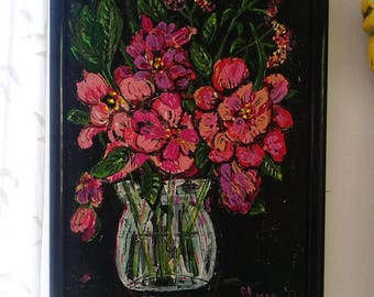 Jar of Flowers, Original Painting, Textural, Joy, Bohemian, Art, Cheery, Rustic, Wall Art, Home Decor, Cottage Decor, Black