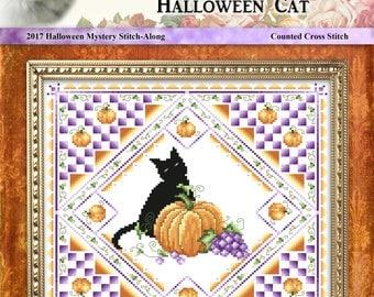Halloween Cat 2017 Cross Stitch Halloween Mystery Stitch-Along Project
