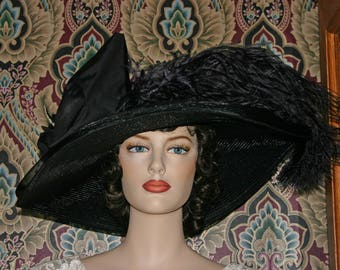 Downton Abbey Hat Edwardian Titanic Hat Kentucky Derby Hat - Lady Adella - Black Hat