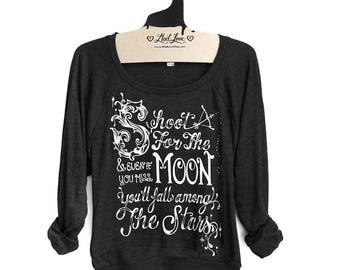 Large -Charcoal Black Tri-Blend Sweatshirt with Shoot For the Moon Screen Print - Large