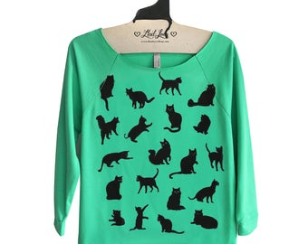 SALE M- Green Sweatshirt Raw-Edge 3/4-Sleeve Womens Raglan Top with Cat Pattern Screen Print - Holiday