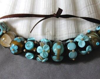 Elizabeth Creations HIGH TIDE artisan lampwork handmade glass beads Sra